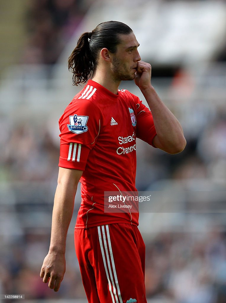 Andy Carroll of Liverpool looks on during the Barclays Premier League match between Newcastle United and Liverpool at Sports Direct Arena on April 1, 2012 in Newcastle upon Tyne, England.