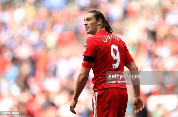 Andy Carroll of Liverpool looks on during the FA Cup with Budweiser Semi Final match between Liverpool and Everton at Wembley Stadium on April 14...