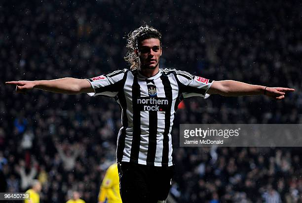 Andy Carroll of Newcastle United celebrates his goal during the Coca Cola Championship game between Newcastle United and Cardiff City at St James'...