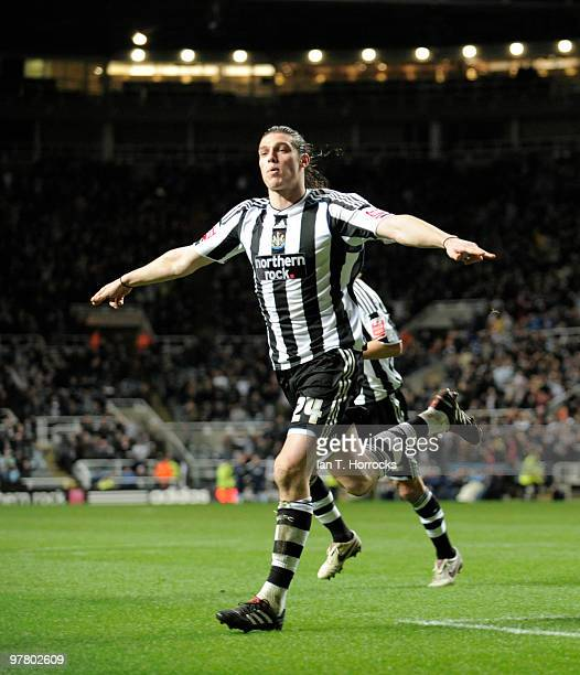 Andy Carroll of Newcastle United celebrates his opening goal during the Coca Cola Championship match between Newcastle United and Scunthorpe United...