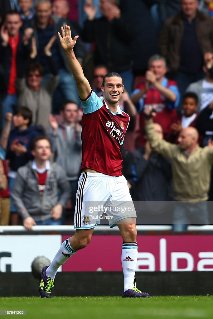 <a gi-track='captionPersonalityLinkClicked' href=/galleries/search?phrase=Andy+Carroll+-+Soccer+Player&family=editorial&specificpeople=1449090 ng-click='$event.stopPropagation()'>Andy Carroll</a> of West Ham celebrates after his team take a 1-0 lead following an own goal by Harry Kane of Spurs during the Barclays Premier League match between West Ham United and Tottenham Hotspur at Boleyn Ground on May 3, 2014 in London, England.
