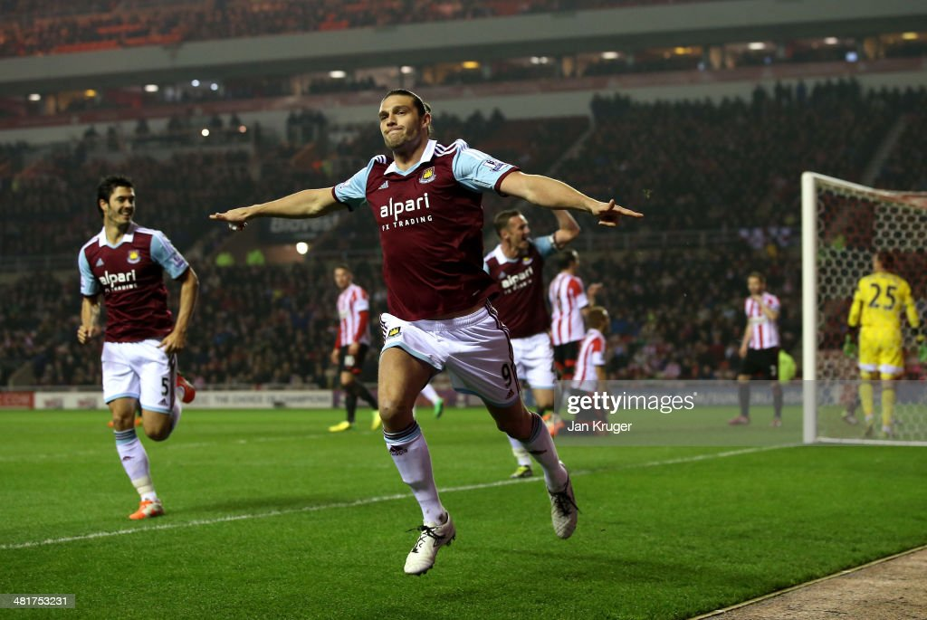 <a gi-track='captionPersonalityLinkClicked' href=/galleries/search?phrase=Andy+Carroll+-+Soccer+Player&family=editorial&specificpeople=1449090 ng-click='$event.stopPropagation()'>Andy Carroll</a> of West Ham celebrates after scoring the opening goal during the Barclays Premier League match between Sunderland and West Ham United at the Stadium of Light on March 31, 2014 in Sunderland, England.