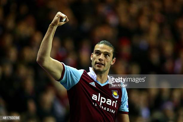 Andy Carroll of West Ham celebrates after scoring the opening goal during the Barclays Premier League match between Sunderland and West Ham United at...