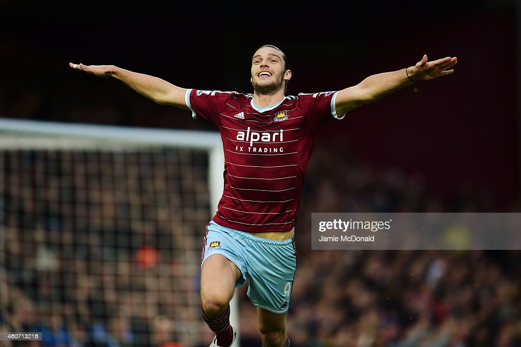 <a gi-track='captionPersonalityLinkClicked' href=/galleries/search?phrase=Andy+Carroll+-+Soccer+Player&family=editorial&specificpeople=1449090 ng-click='$event.stopPropagation()'>Andy Carroll</a> of West Ham celebrates scoring the first goal during the Barclays Premier League match between West Ham United and Leicester City at Boleyn Ground on December 20, 2014 in London, England.