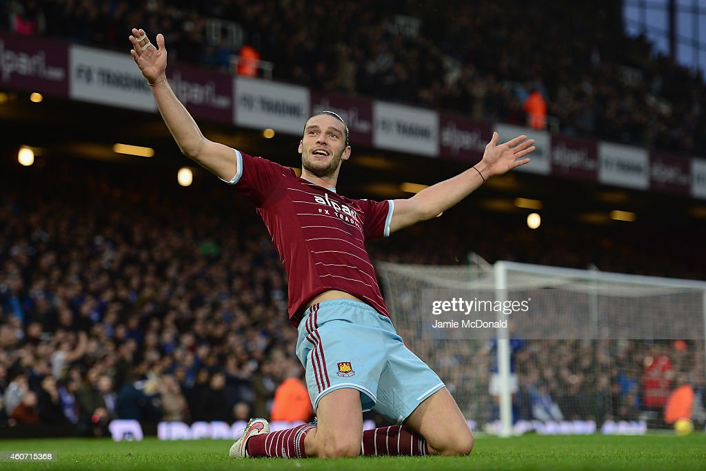 <a gi-track='captionPersonalityLinkClicked' href=/galleries/search?phrase=Andy+Carroll+-+Soccer+Player&family=editorial&specificpeople=1449090 ng-click='$event.stopPropagation()'>Andy Carroll</a> of West Ham celebrates scoring the first goal during the Barclays Premier League match between West Han United and Leicester City at Boleyn Ground on December 20, 2014 in London, England.
