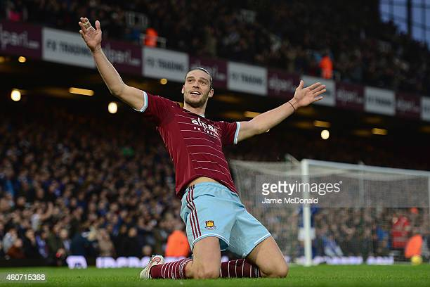Andy Carroll of West Ham celebrates scoring the first goal during the Barclays Premier League match between West Han United and Leicester City at...