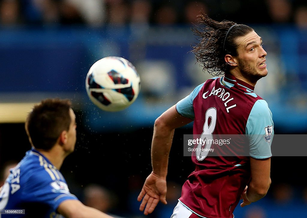 Andy Carroll of West Ham in action during the Barclays Premier League match between Chelsea and West Ham United at Stamford Bridge on March 17, 2013 in London, England.