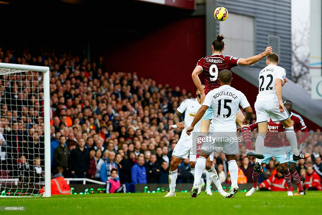 Andy Carroll of West Ham scores their first goal with a header during the Barclays Premier League match between West Ham United and Swansea City at Boleyn Ground on December 7, 2014 in London, England.