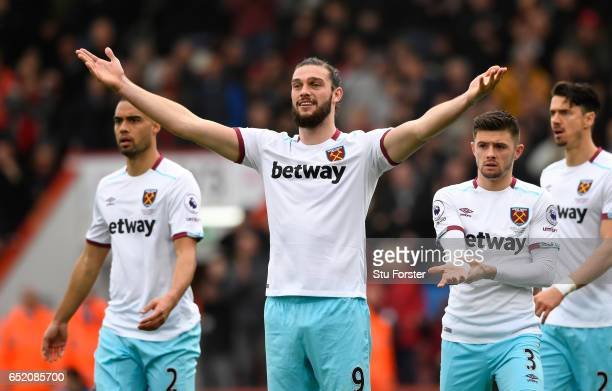 Andy Carroll of West Ham United and team mates appeal as Joshua King of AFC Bournemouth scores their second goal during the Premier League match...