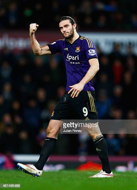 Andy Carroll of West Ham United celebrates a succesful penalty in the shoot out during the FA Cup Third Round Replay match between West Ham United...