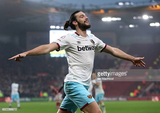 Andy Carroll of West Ham United celebrates scoring his sides second goal during the Premier League match between Middlesbrough and West Ham United at...