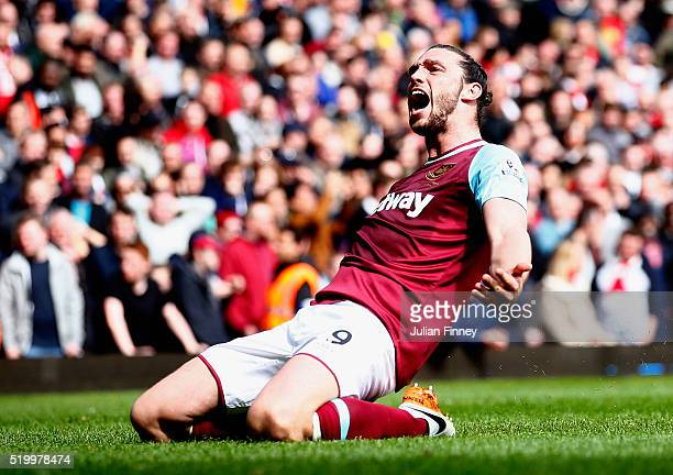 Andy Carroll of West Ham United celebrates scoring his team's second goal during the Barclays Premier League match between West Ham United and...