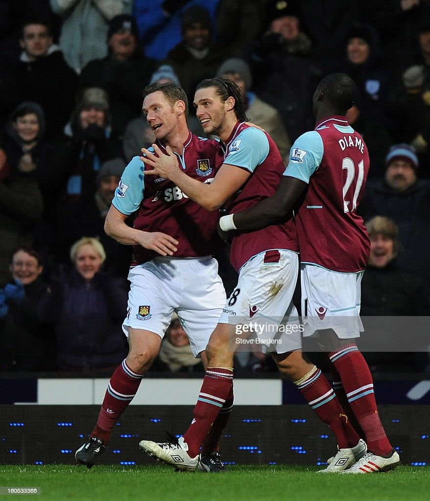 <a gi-track='captionPersonalityLinkClicked' href=/galleries/search?phrase=Andy+Carroll+-+Soccer+Player&family=editorial&specificpeople=1449090 ng-click='$event.stopPropagation()'>Andy Carroll</a> (C) of West Ham United celebrates scoring the first and only goal of the game with Kevin Nolan (L) and Mohamed Diame during the Barclays Premier League match between West Ham United and Swansea at the Boleyn Ground on February 2, 2013 in London, England.