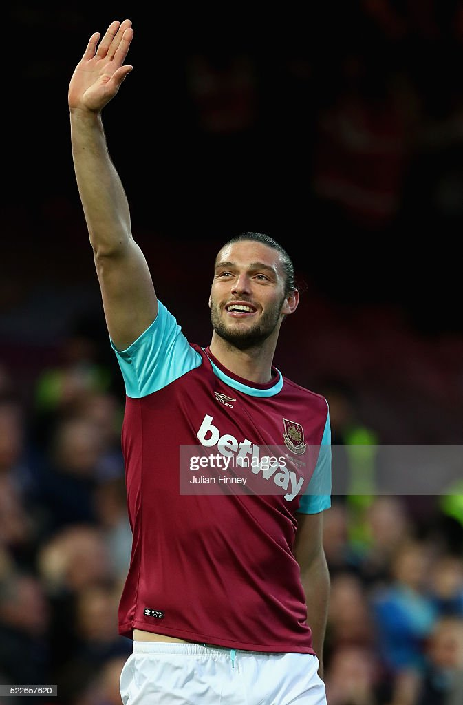 <a gi-track='captionPersonalityLinkClicked' href=/galleries/search?phrase=Andy+Carroll+-+Soccer+Player&family=editorial&specificpeople=1449090 ng-click='$event.stopPropagation()'>Andy Carroll</a> of West Ham United celebrates scoring the opening goal during the Barclays Premier League match between West Ham United and Watford at the Boleyn Ground, April 20, 2016, London, England