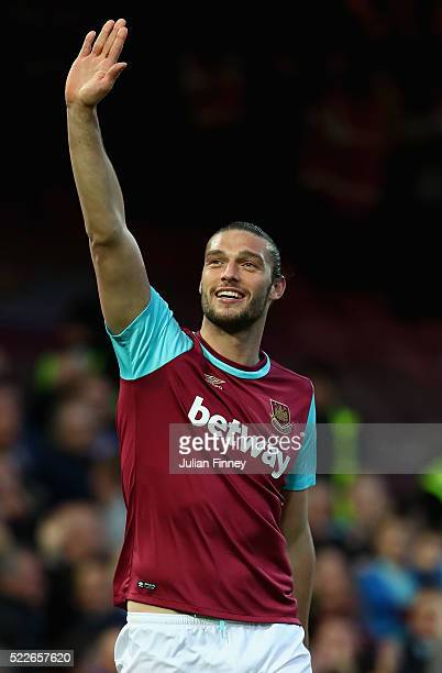 Andy Carroll of West Ham United celebrates scoring the opening goal during the Barclays Premier League match between West Ham United and Watford at...