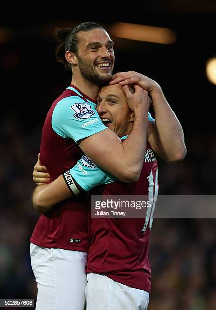 Andy Carroll of West Ham United celebrates with Mark Noble of West Ham United after scoring the opening goal during the Barclays Premier League match...