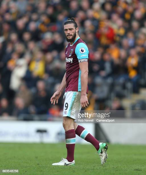 Andy Carroll of West Ham United during the Premier League match between Hull City and West Ham United at KCOM Stadium on April 1 2017 in Hull England