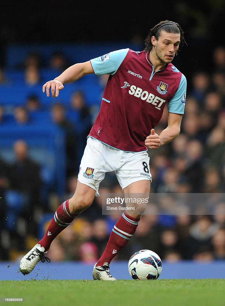Andy Carroll of West Ham United in action during the Barclays Premier League match between Chelsea and West Ham United at Stamford Bridge on March 17, 2013 in London, England.