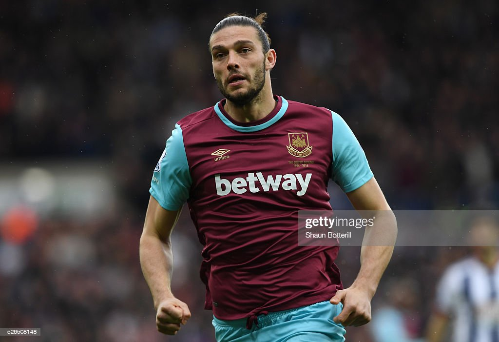 Andy Carroll of West Ham United in action during the Barclays Premier League match between West Bromwich Albion and West Ham United at The Hawthorns on April 30, 2016 in West Bromwich, England.