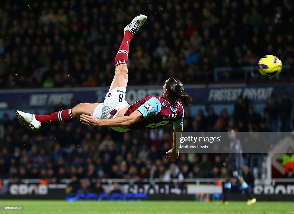 Andy Carroll of West Ham United performs an overhead kick during the Barclays Premier League match between West Ham United and Manchester City at the Boleyn Ground on November 3, 2012 in London, England.