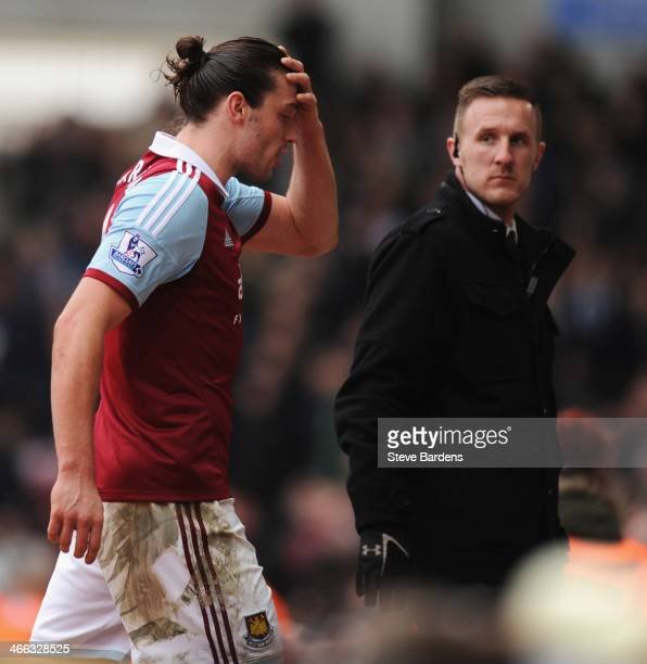 Andy Carroll of West Ham United reacts as he is sent off after a clash with Chico Flores of Swansea City during the Barclays Premier League match...