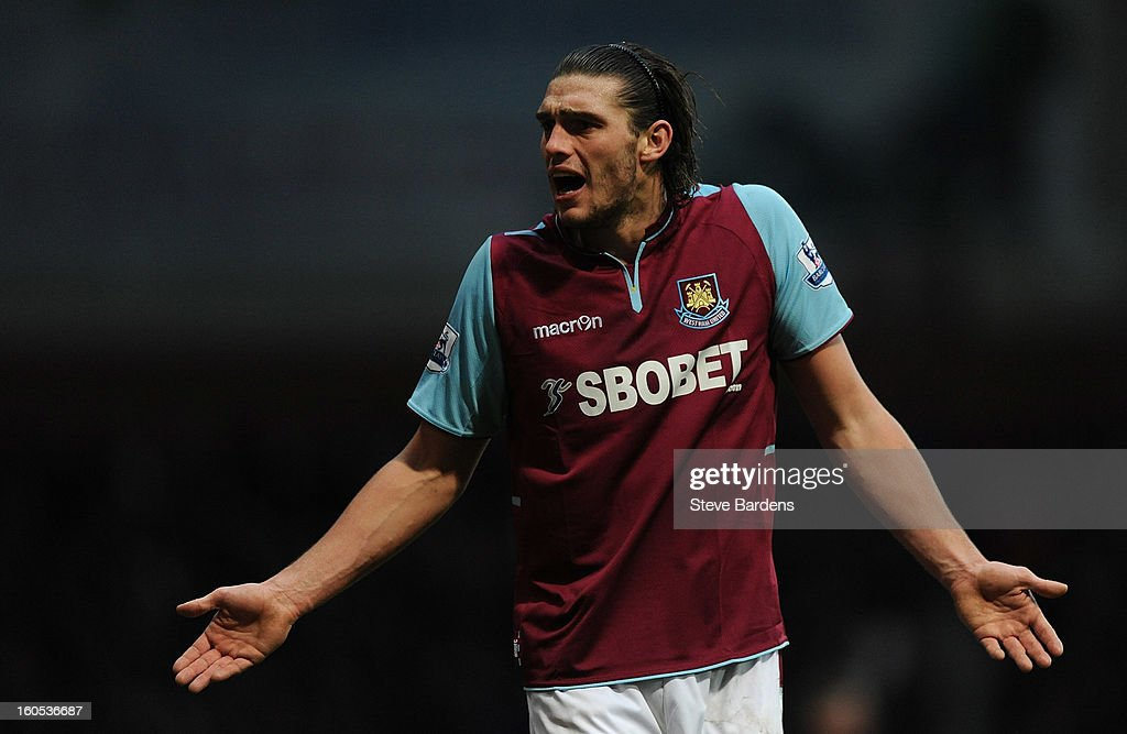Andy Carroll of West Ham United reacts during the Barclays Premier League match between West Ham United and Swansea at the Boleyn Ground on February 2, 2013 in London, England.