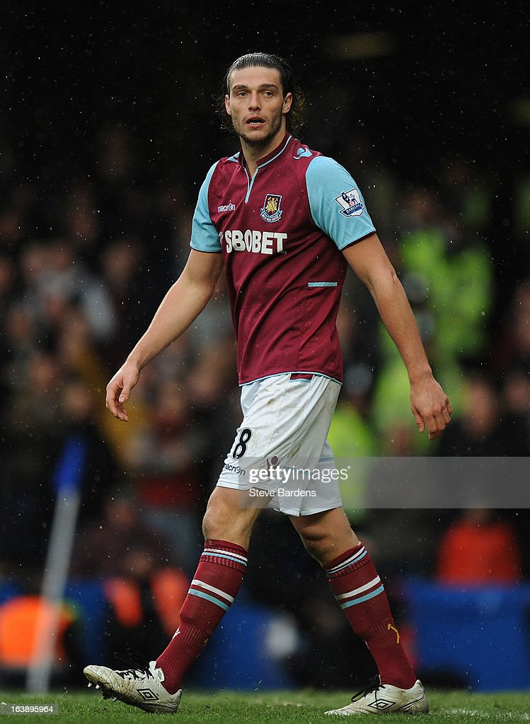 Andy Carroll of West Ham United reacts during the Barclays Premier League match between Chelsea and West Ham United at Stamford Bridge on March 17, 2013 in London, England.
