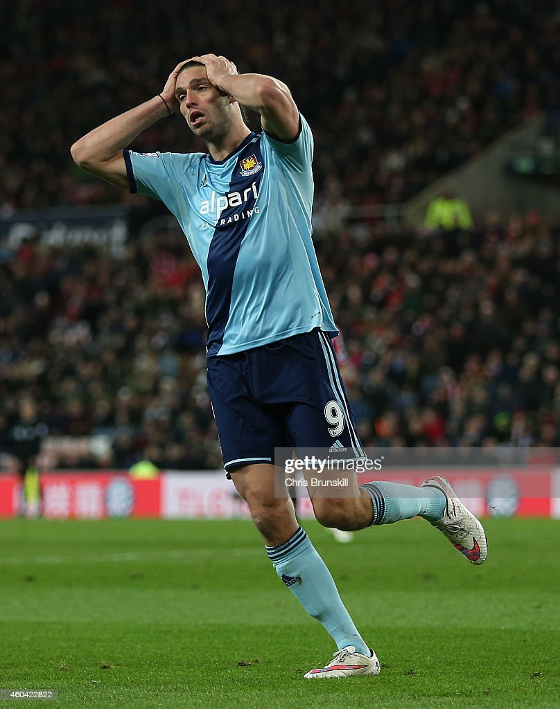 Andy Carroll of West Ham United reacts during the Barclays Premier League match between Sunderland and West Ham United at Stadium of Light on December 13, 2014 in Sunderland, England.