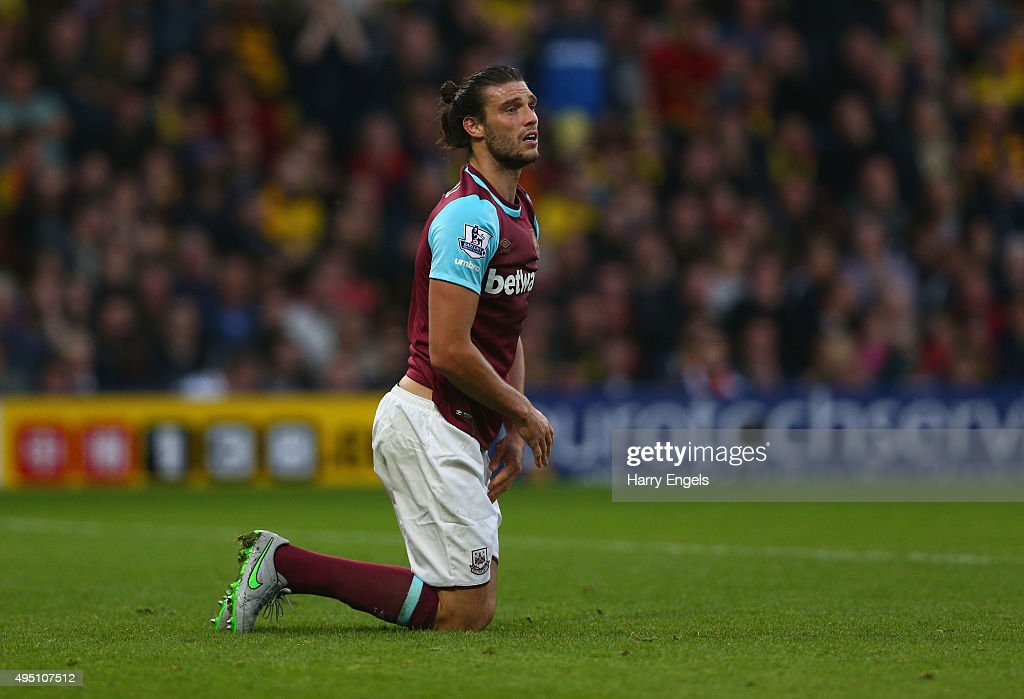 Andy Carroll of West Ham United reacts during the Barclays Premier League match between Watford and West Ham United at Vicarage Road on October 31, 2015 in Watford, England.