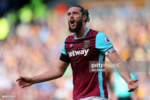 Andy Carroll of West Ham Unted reacts during the Premier League match between Hull City and West Ham United at KCOM Stadium on April 1 2017 in Hull...