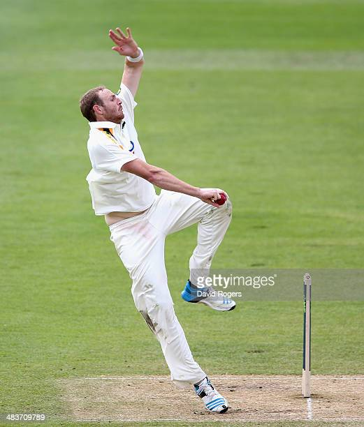 Andy Carter of Nottinghamshire bowls during day four of the LV County Championship division one match between Nottinghamshire and Lancashire at Trent...