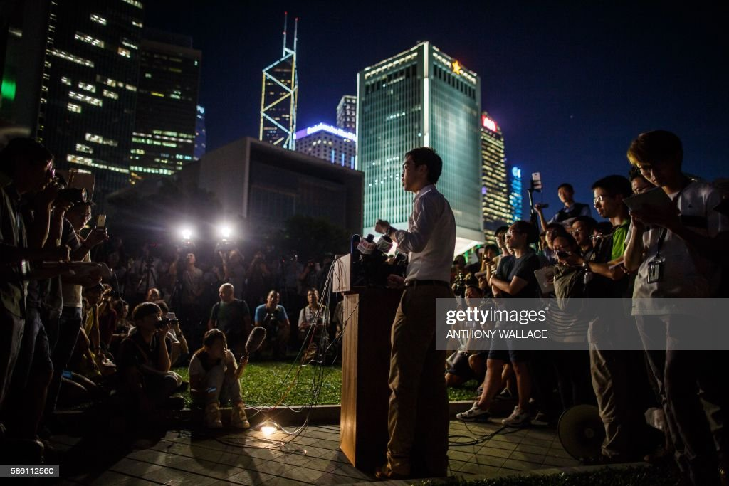 Andy Chan leader of the proindependence Hong Kong National Party and a disqualified candidate of upcoming elections gives a press conference at the...