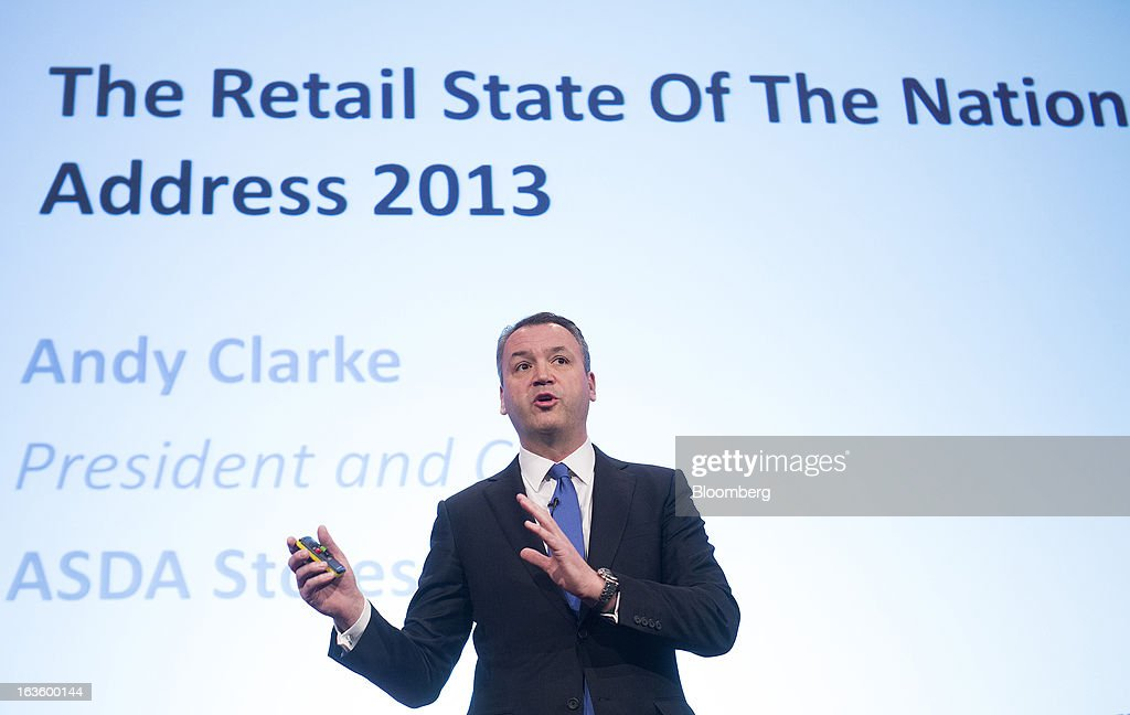 Andy Clarke, chief executive officer of Asda Plc, owned by Wal-Mart Stores Inc., speaks during the Retail Week conference in London, U.K., on Wednesday, March 13, 2013. Asda said it will continue to reduce prices on basic food products such as bread, milk and eggs to lure cash-starved shoppers away from discount rivals. Photographer: Simon Dawson/Bloomberg via Getty Images