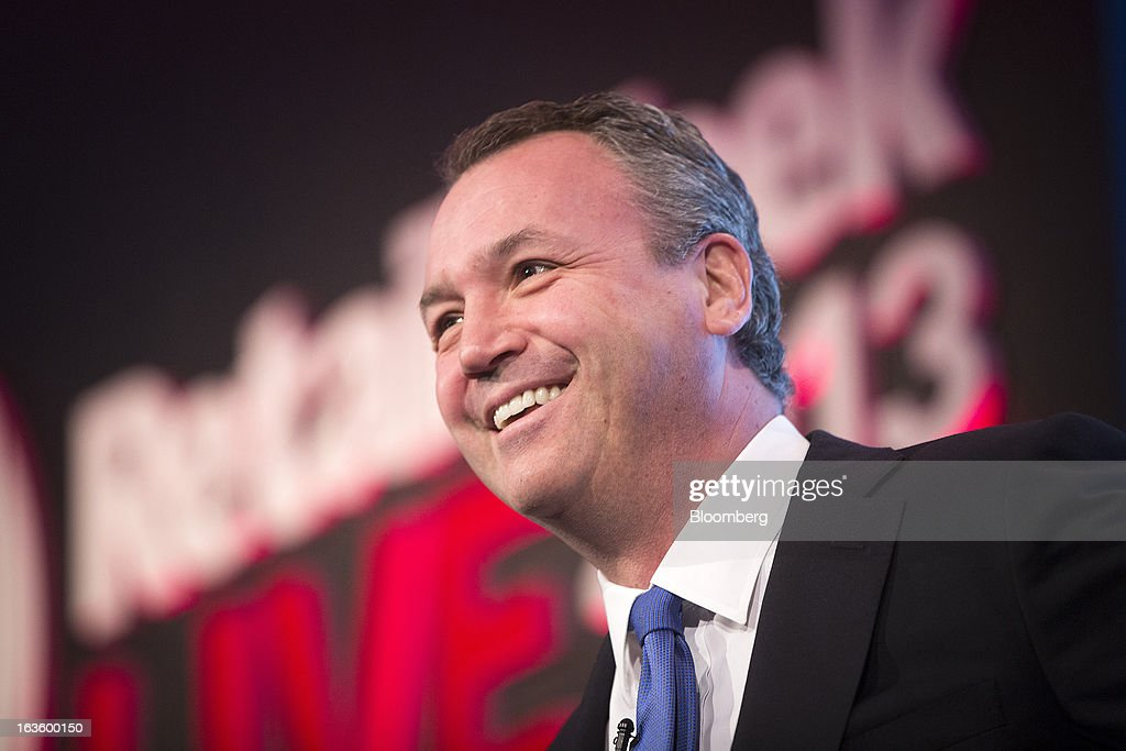 Andy Clarke, chief executive officer of Asda Plc, owned by Wal-Mart Stores Inc., reacts whilst speaking at the Retail Week conference in London, U.K., on Wednesday, March 13, 2013. Asda said it will continue to reduce prices on basic food products such as bread, milk and eggs to lure cash-starved shoppers away from discount rivals. Photographer: Simon Dawson/Bloomberg via Getty Images