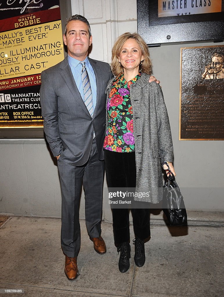 Andy Cohen (L) and <a gi-track='captionPersonalityLinkClicked' href=/galleries/search?phrase=Amy+Sedaris&family=editorial&specificpeople=209343 ng-click='$event.stopPropagation()'>Amy Sedaris</a> attend 'The Other Place' Broadway opening night at Samuel J. Friedman Theatre on January 10, 2013 in New York City.
