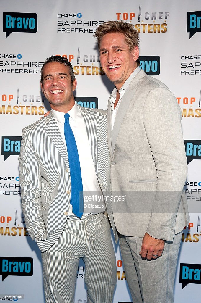 Andy Cohen (L) and <a gi-track='captionPersonalityLinkClicked' href=/galleries/search?phrase=Curtis+Stone&family=editorial&specificpeople=215291 ng-click='$event.stopPropagation()'>Curtis Stone</a> attend Bravo's 'Top Chef Masters' Season 5 Premiere Celebration at 82 Mercer on July 16, 2013 in New York City.