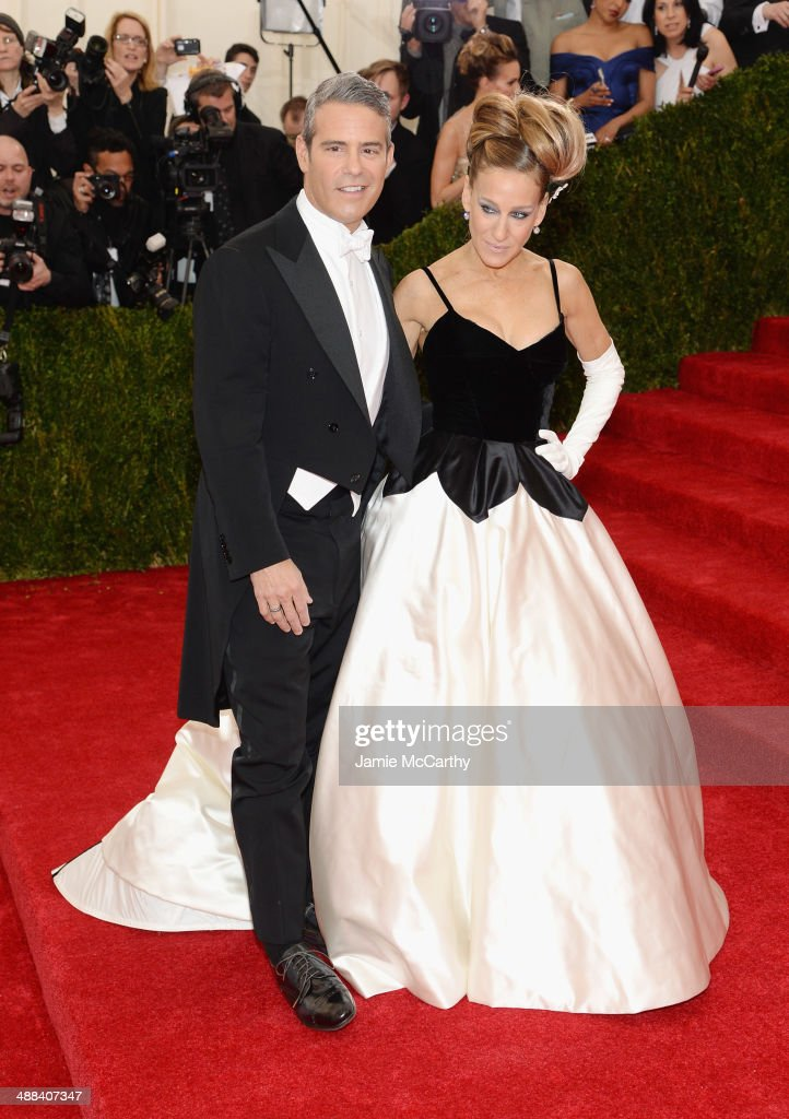 Andy Cohen and Sarah Jessica Parker attend the 'Charles James: Beyond Fashion' Costume Institute Gala at the Metropolitan Museum of Art on May 5, 2014 in New York City.