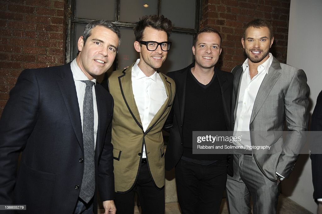Andy Cohen, Brad Goresk, , Simon Spurr and Kellen Lutz backstage at the Simon Spurr fall 2012 fashion show during Mercedes-Benz Fashion Week at Milk Studios on February 12, 2012 in New York City.