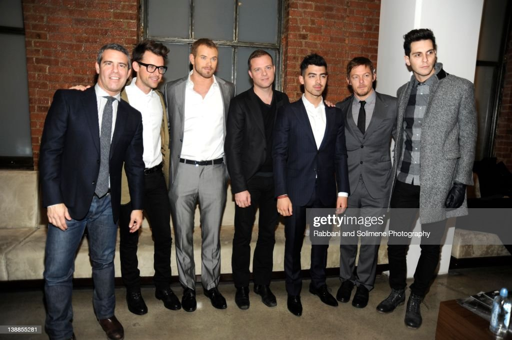 Andy Cohen, <a gi-track='captionPersonalityLinkClicked' href=/galleries/search?phrase=Brad+Goreski&family=editorial&specificpeople=3255296 ng-click='$event.stopPropagation()'>Brad Goreski</a>, Kellen Lutz, Simon Spurr, <a gi-track='captionPersonalityLinkClicked' href=/galleries/search?phrase=Joe+Jonas&family=editorial&specificpeople=842712 ng-click='$event.stopPropagation()'>Joe Jonas</a>, <a gi-track='captionPersonalityLinkClicked' href=/galleries/search?phrase=Norman+Reedus&family=editorial&specificpeople=747258 ng-click='$event.stopPropagation()'>Norman Reedus</a> and <a gi-track='captionPersonalityLinkClicked' href=/galleries/search?phrase=Gabe+Saporta&family=editorial&specificpeople=4214209 ng-click='$event.stopPropagation()'>Gabe Saporta</a> backstage at the Simon Spurr fall 2012 fashion show during Mercedes-Benz Fashion Week at Milk Studios on February 12, 2012 in New York City.