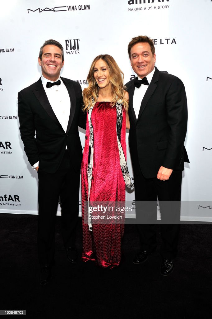 Andy Cohen, <a gi-track='captionPersonalityLinkClicked' href=/galleries/search?phrase=Sarah+Jessica+Parker&family=editorial&specificpeople=201693 ng-click='$event.stopPropagation()'>Sarah Jessica Parker</a> and <a gi-track='captionPersonalityLinkClicked' href=/galleries/search?phrase=Kevin+Huvane&family=editorial&specificpeople=2133904 ng-click='$event.stopPropagation()'>Kevin Huvane</a> attend the amfAR New York Gala to kick off Fall 2013 Fashion Week at Cipriani Wall Street on February 6, 2013 in New York City.
