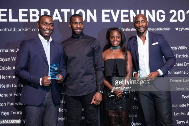 Andy Cole and Jason Roberts receive the Keith Alexander Award Pictured with Yannick Bolasie and Eniola Aluko at the Football Black List 2016 at...