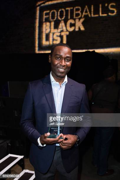 Andy Cole is presented with the Keith Alexander Award at the Football Black List 2016 at Village Underground on March 28 2017 in London England