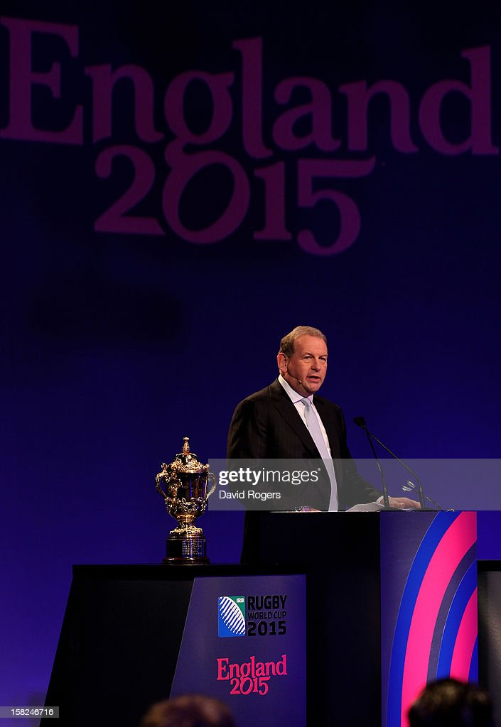 Andy Cosslett the Chairman of England Rugby 2015 Ltd speaks during the IRB Rugby World Cup 2015 pool allocation draw at the Tate Modern on December 3, 2012 in London, England.
