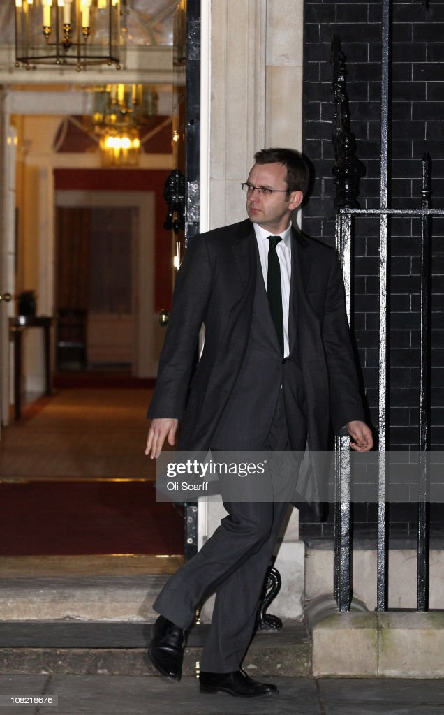 <a gi-track='captionPersonalityLinkClicked' href=/galleries/search?phrase=Andy+Coulson&family=editorial&specificpeople=734849 ng-click='$event.stopPropagation()'>Andy Coulson</a>, the prime minister's director of communications, leaves number 10 Downing Street following his resignation on January 21, 2011 in London, England. Mr Coulson has today tendered his resignation following increasing allegations of illegal phone hacking during his tenure as editor of the News of the World Sunday newspaper.