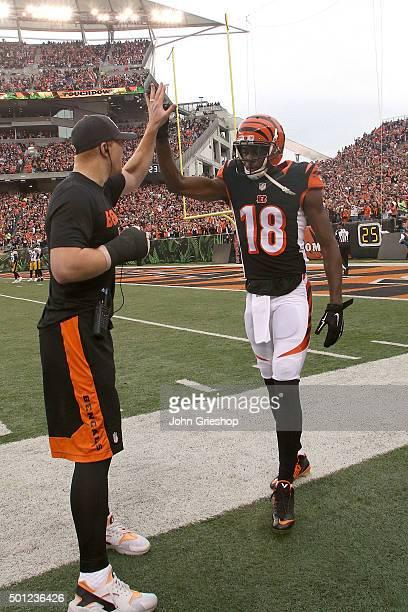 Andy Dalton of the Cincinnati Bengals congratulates AJ Green of the Cincinnati Bengals after scoring a touchdown during the second quarter of the...