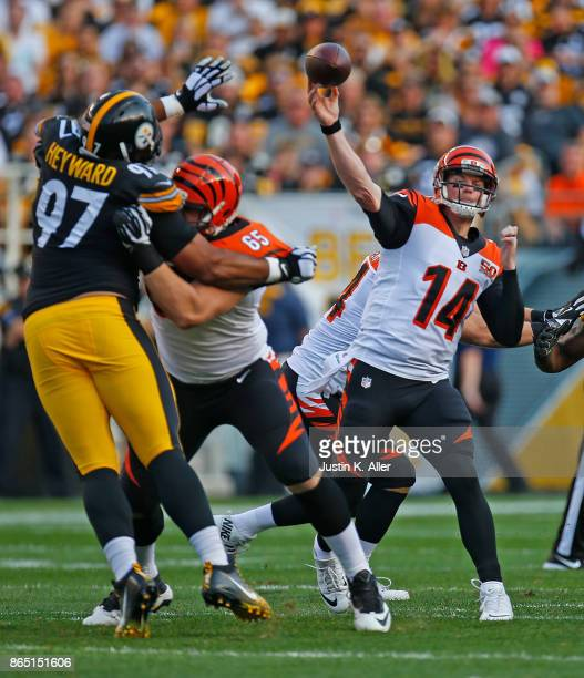 Andy Dalton of the Cincinnati Bengals drops back to pass in the first half during the game against the Pittsburgh Steelers at Heinz Field on October...