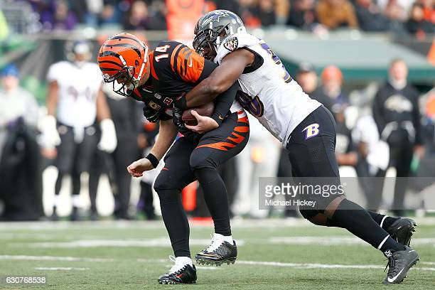 Andy Dalton of the Cincinnati Bengals is sacked by Elvis Dumervil of the Baltimore Ravens during the third quarter at Paul Brown Stadium on January 1...