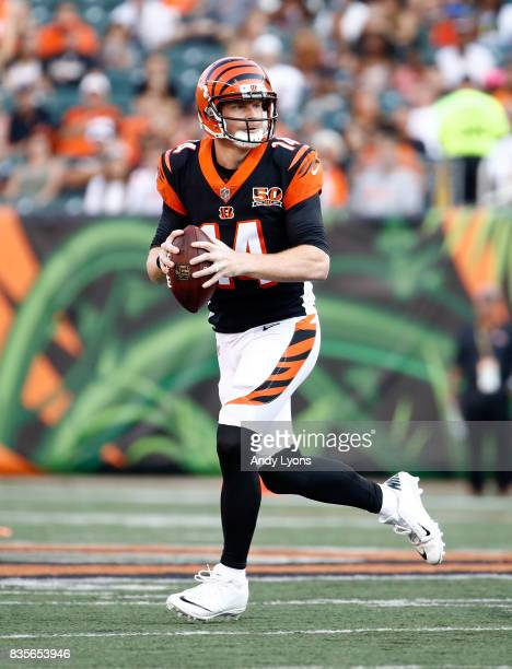 Andy Dalton of the Cincinnati Bengals runs with the ball during the preseason game against the Kansas City Chiefs at Paul Brown Stadium on August 19...