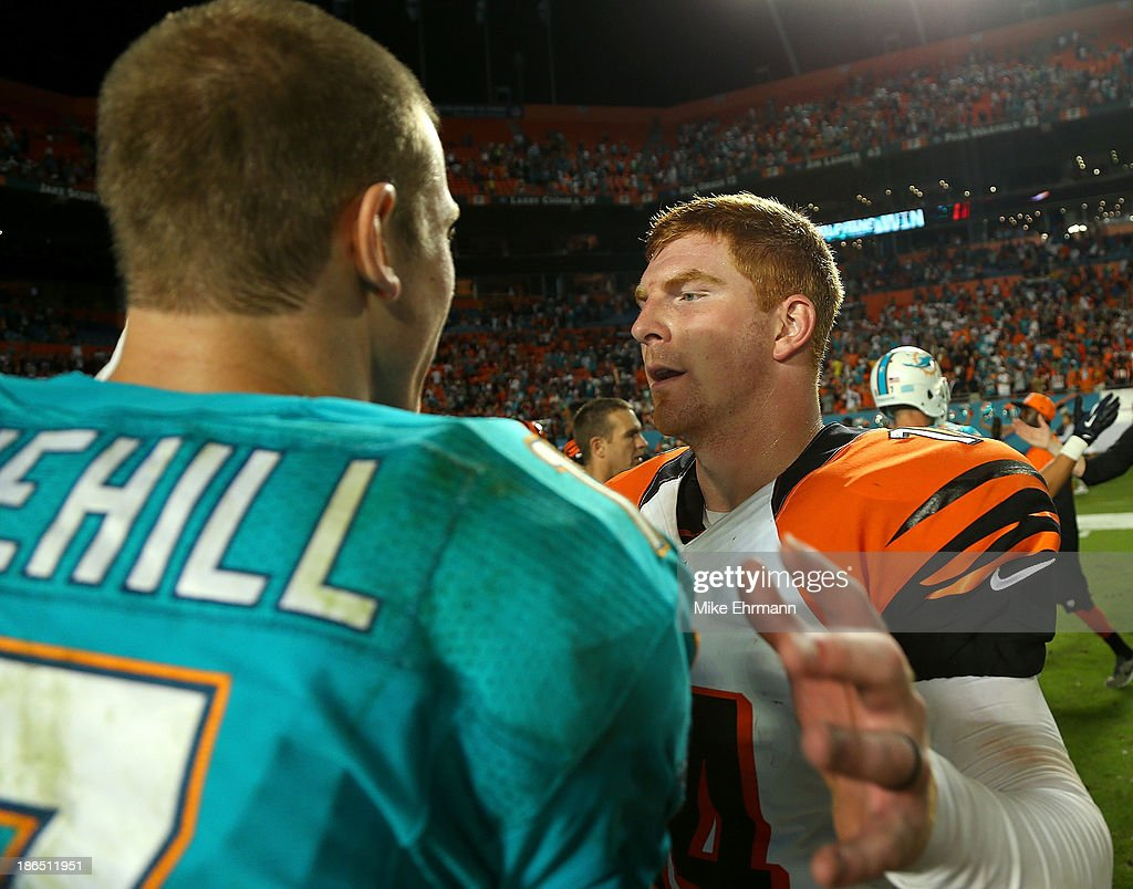 Andy Dalton #14 of the Cincinnati Bengals shakes hands with Ryan Tannehill #17 of the Miami Dolphins during a game at Sun Life Stadium on October 31, 2013 in Miami Gardens, Florida.