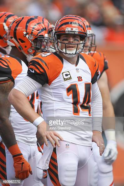 Andy Dalton of the Cincinnati Bengals takes control of the huddle during the game against the San Diego Chargers at Paul Brown Stadium on September...